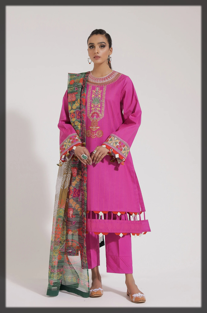 shocking pink unstitched summer suit