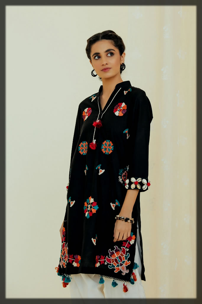 sleek black Embroidered Lawn Shirt