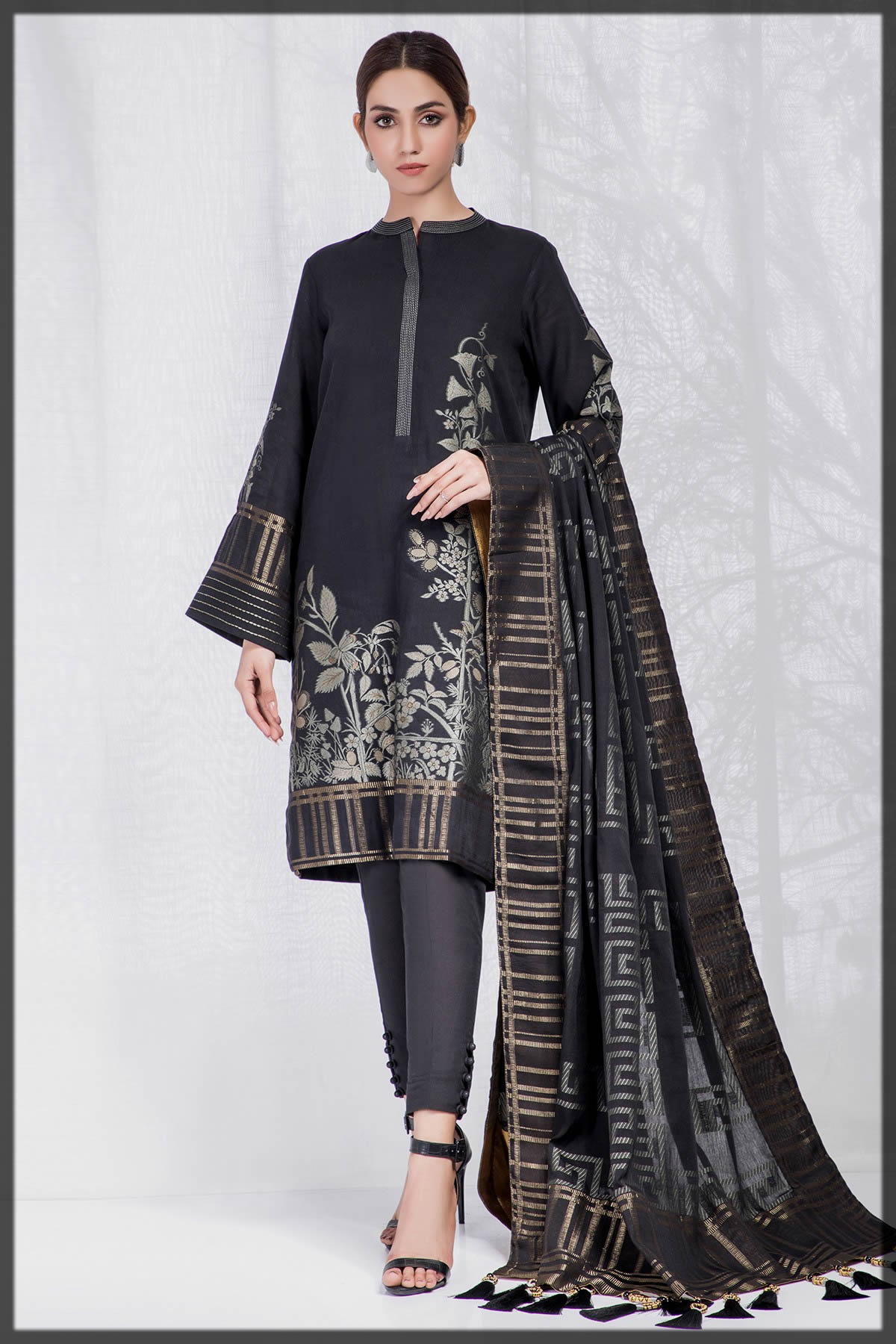 sleek black jacquard summer dress by alkaram