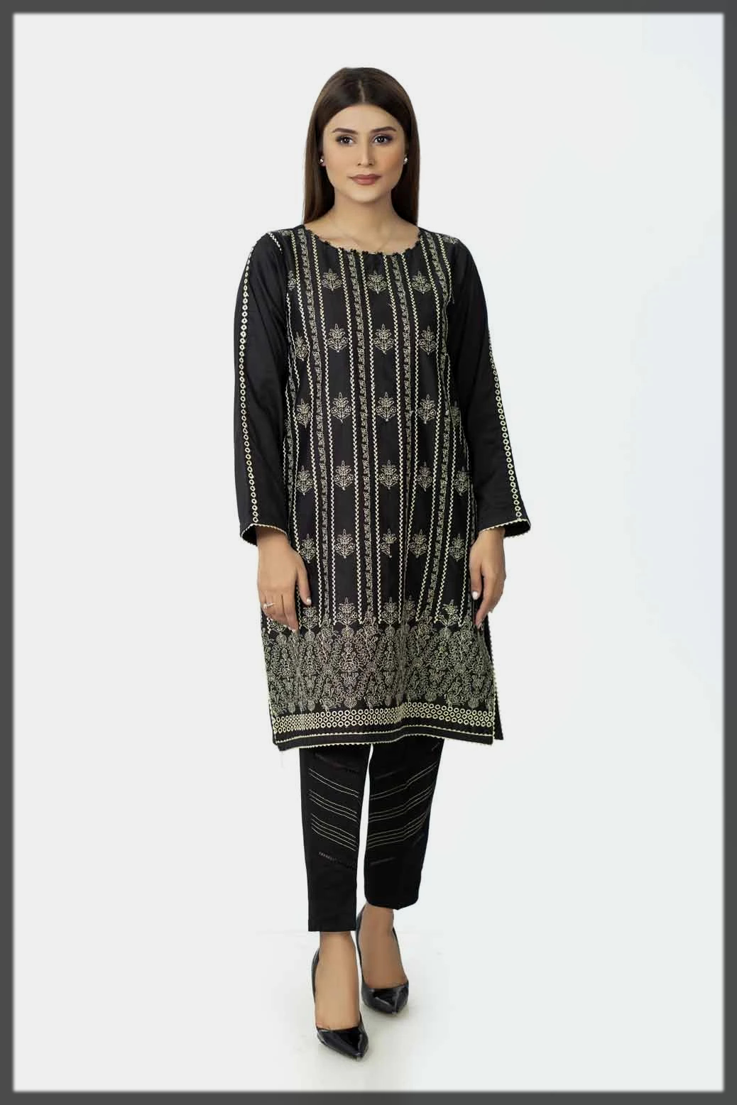 sleek black summer cotton kurti