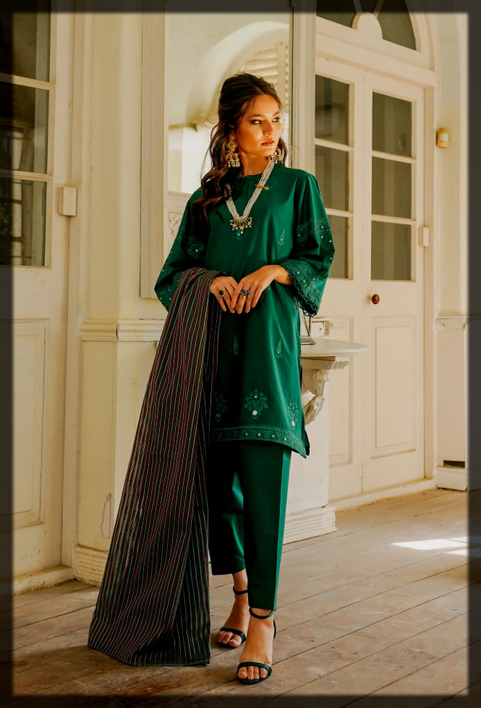 stunning Embroidered Lawn suit with lawn trouser