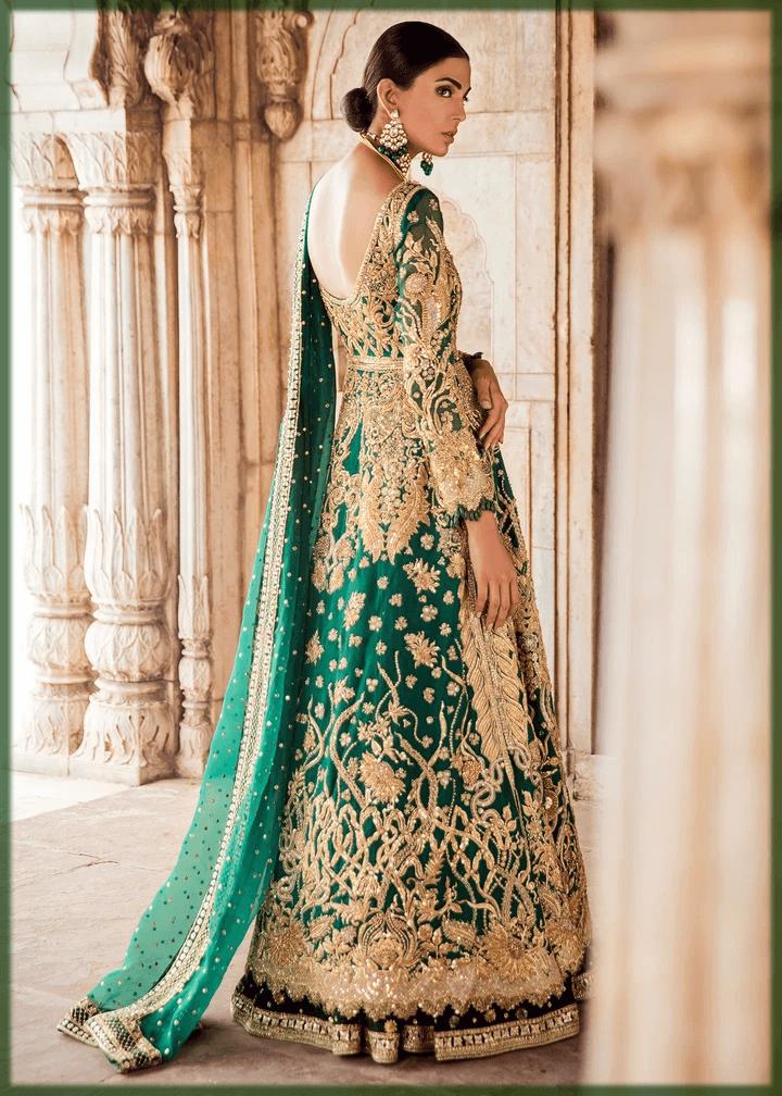 stunning green bridal mehndi dress 2020