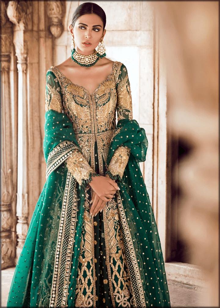 stunning green bridal mehndi dress
