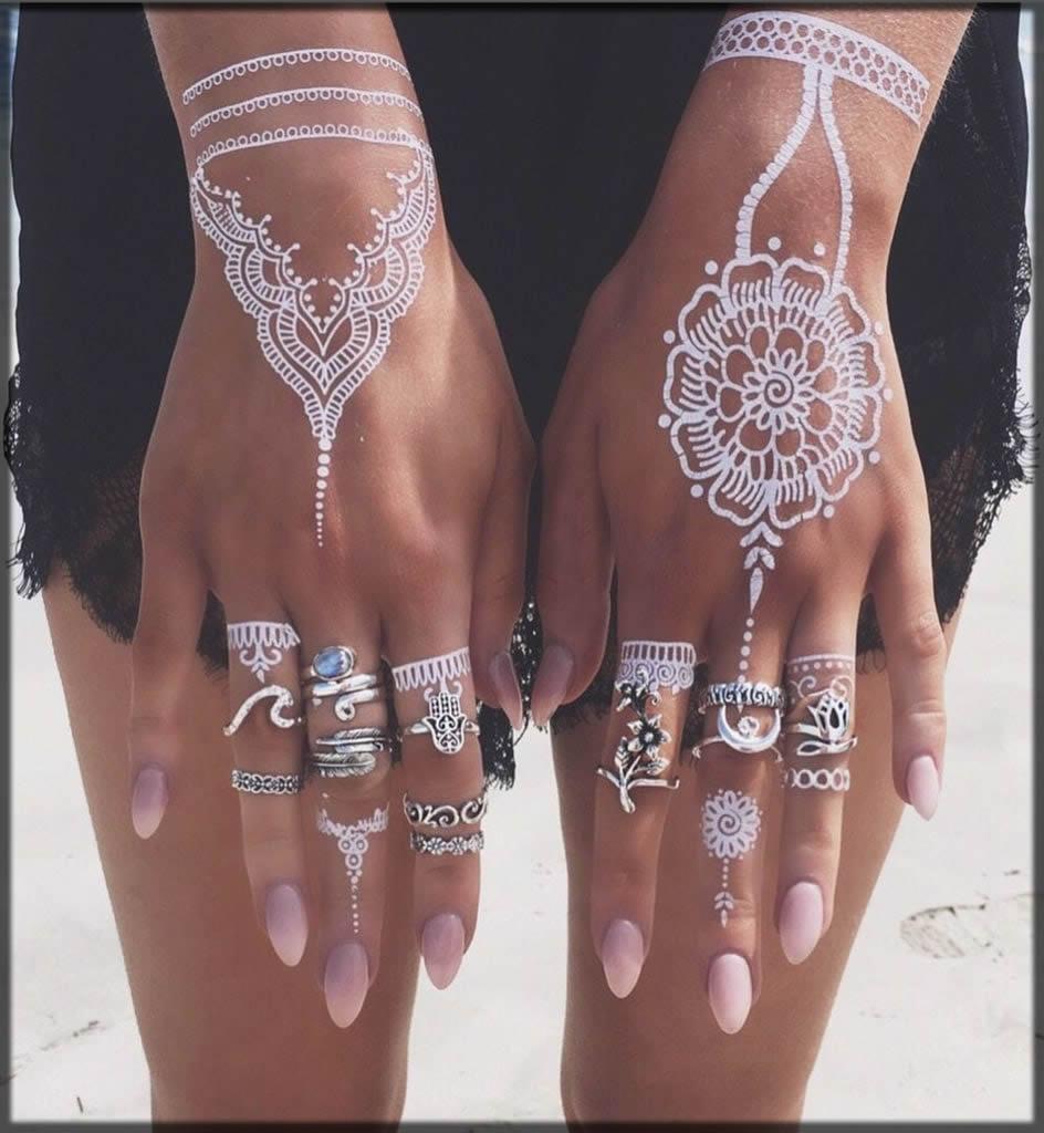 stunning white henna art