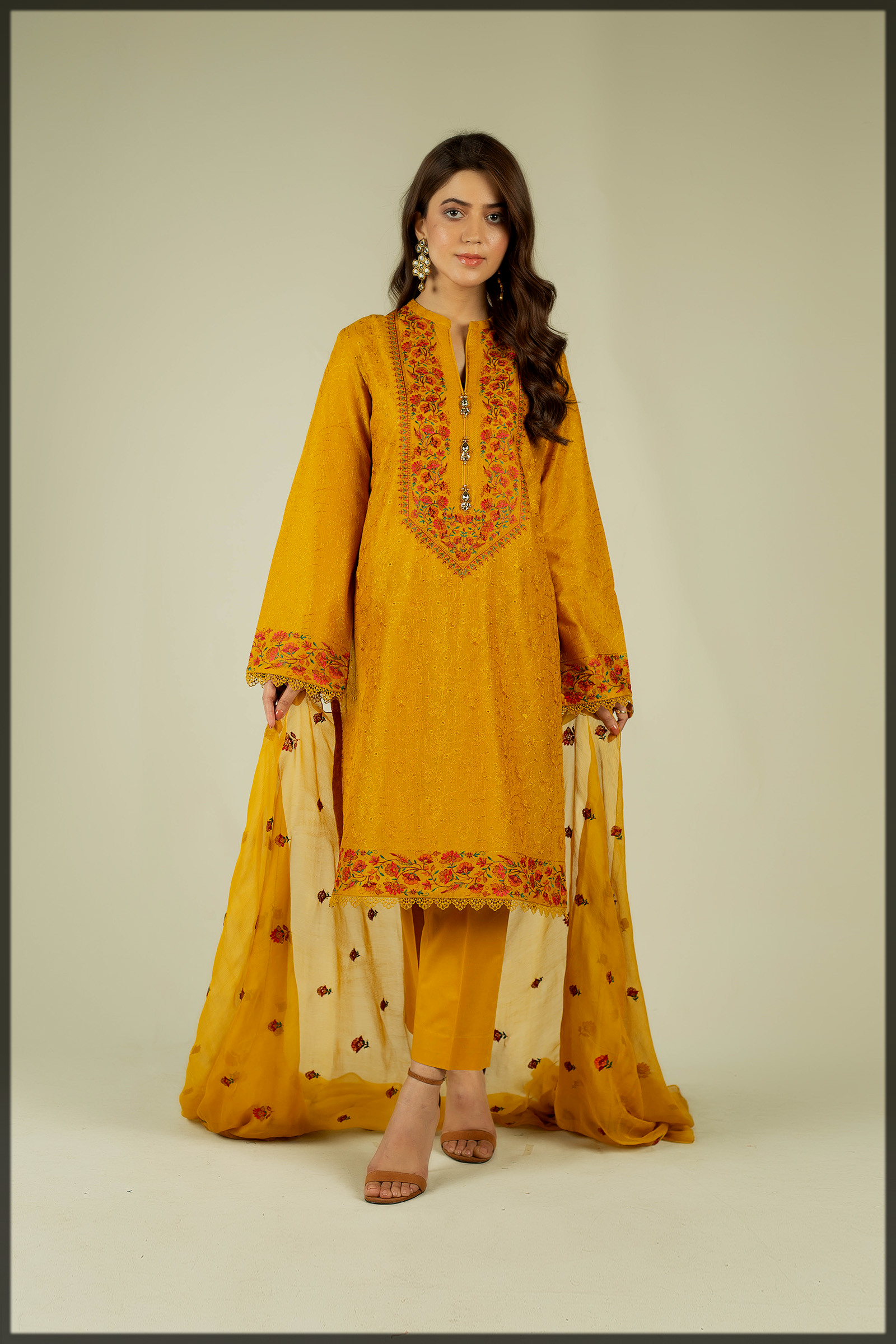 stunning yellow Embroidered Suit