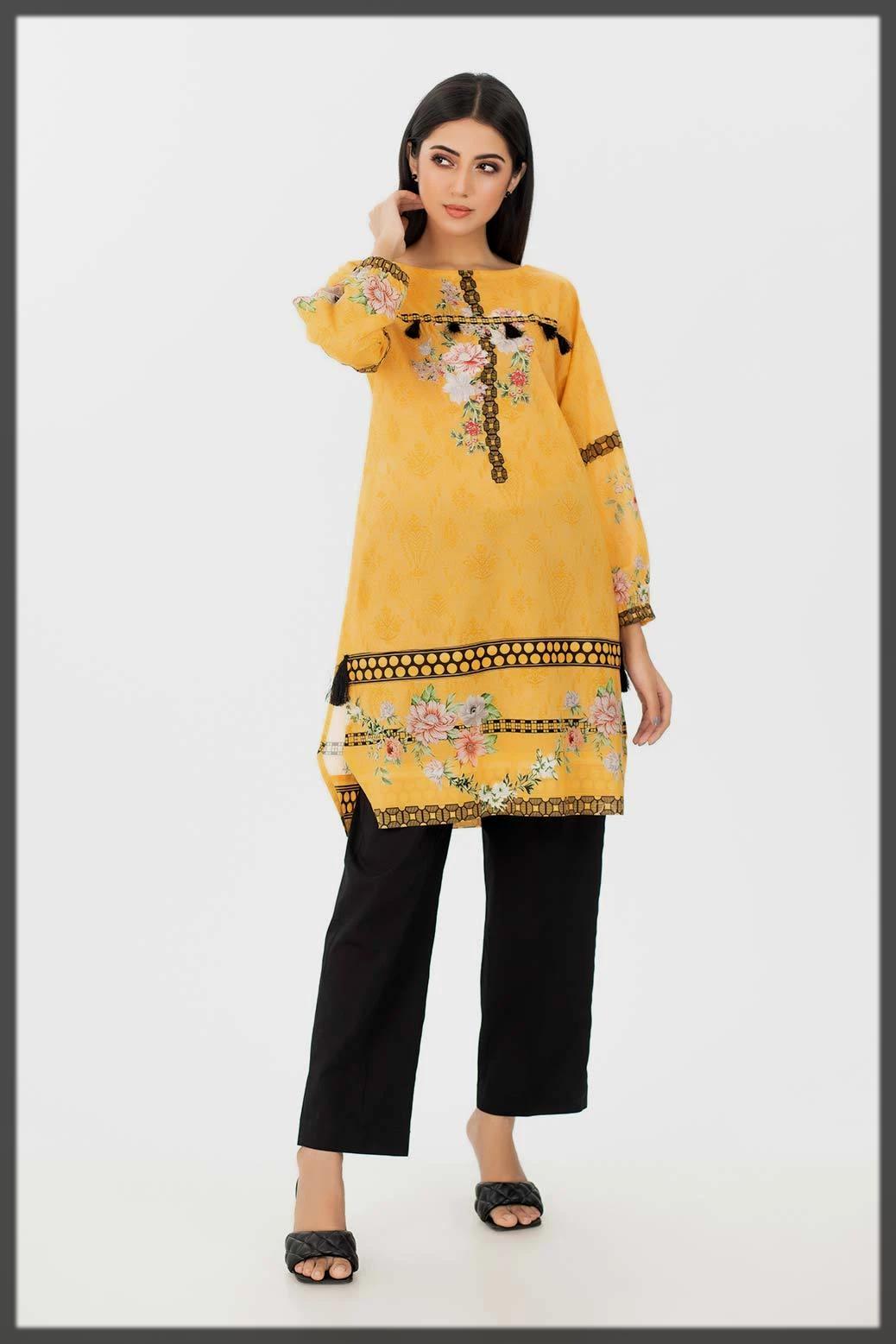 stunning yellow summer kurti