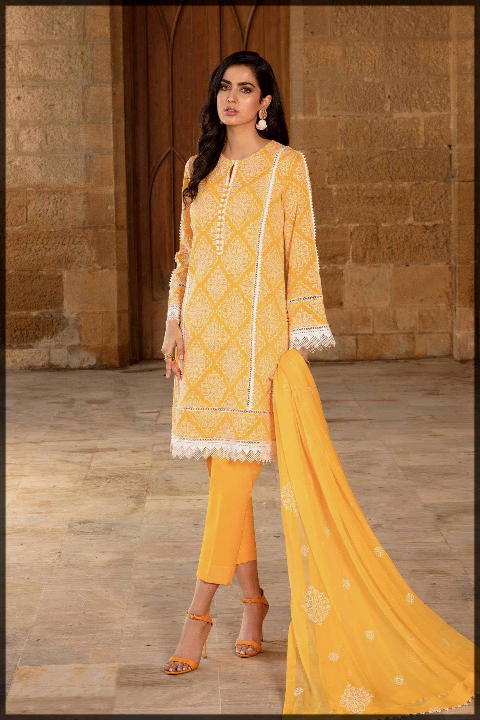 stunning yellow summer lawn suit
