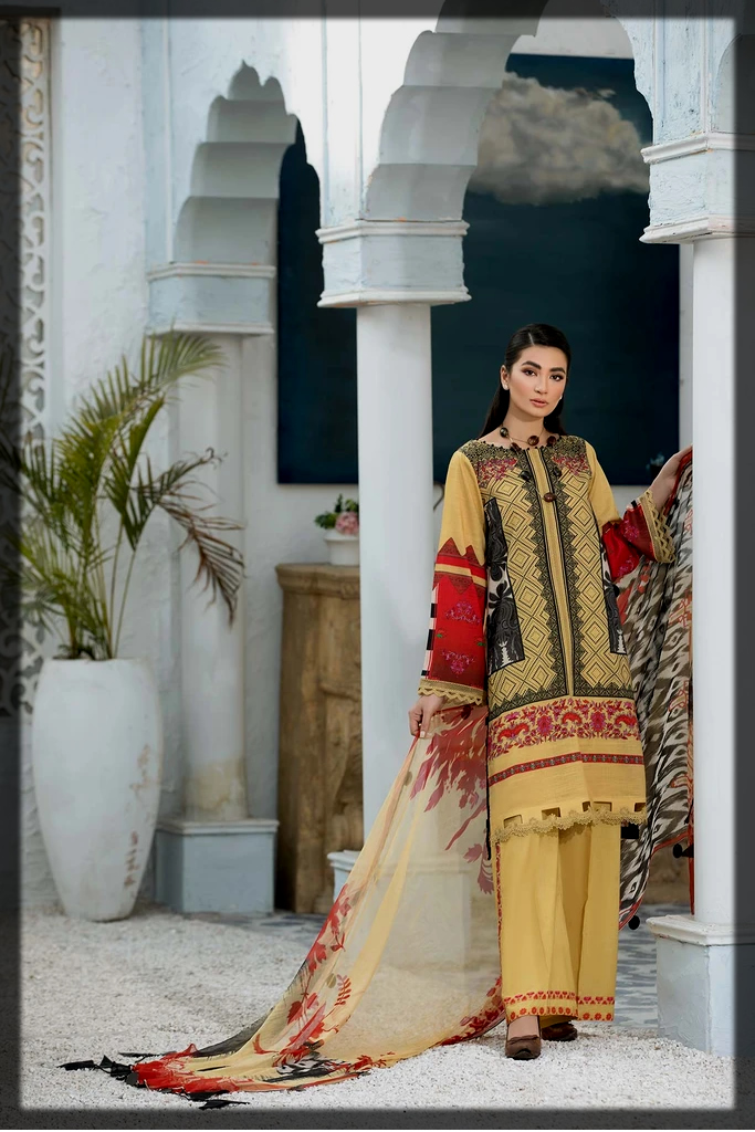 sushine yellow summer lawn suit
