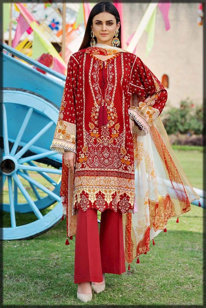 voguish maroon summer lawn dress