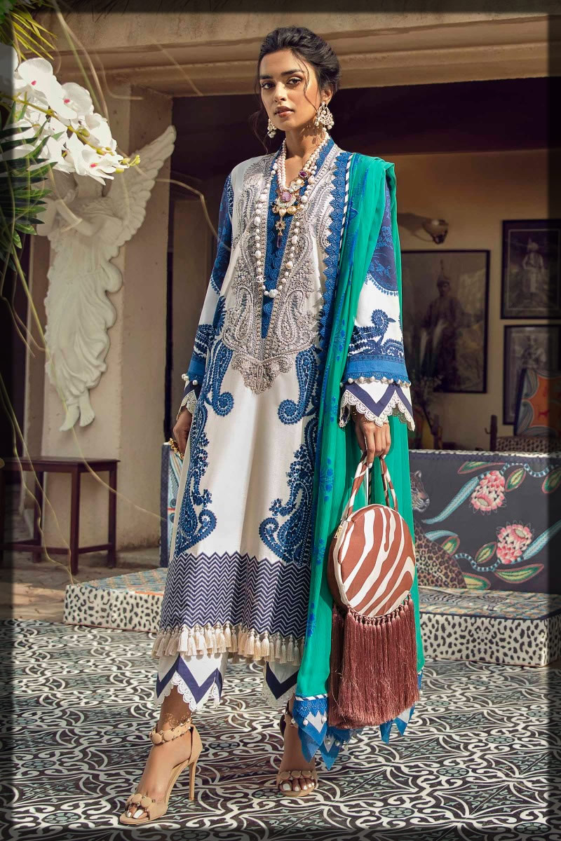 white and blue summer lawn suit