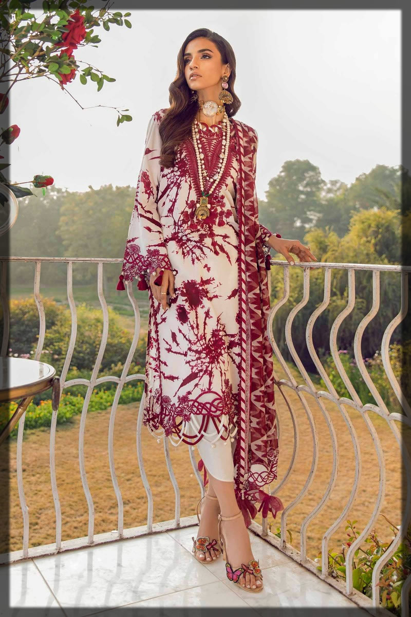 white and maroon lawn dress