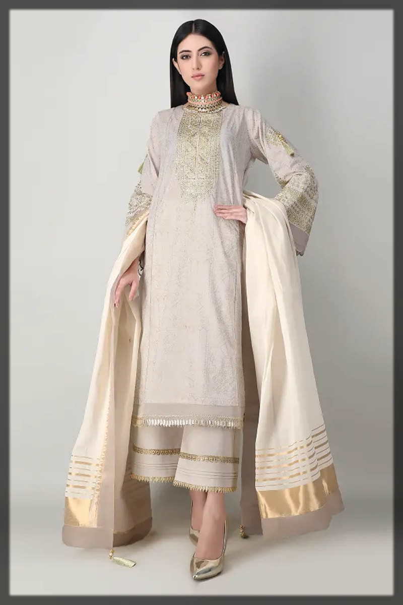 white embroidered festive lawn dress