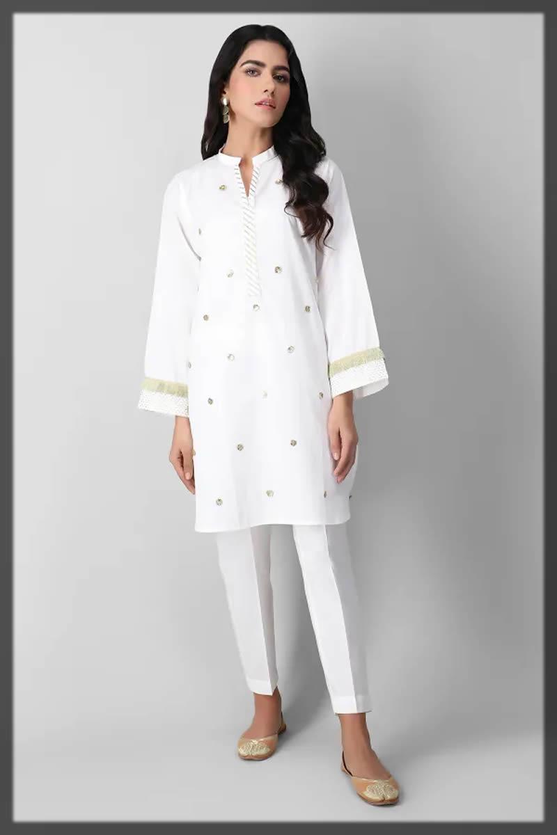 white embroidered kurta for girls