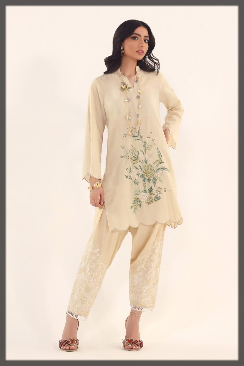 white embroidered lawn shirt