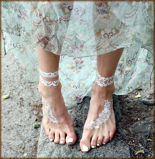 white henna art ideas for foot
