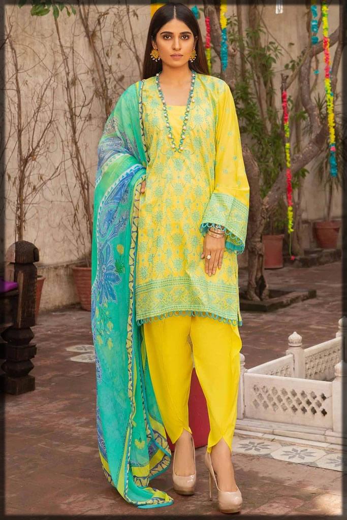 yellow chikan kari three-piece lawn dress