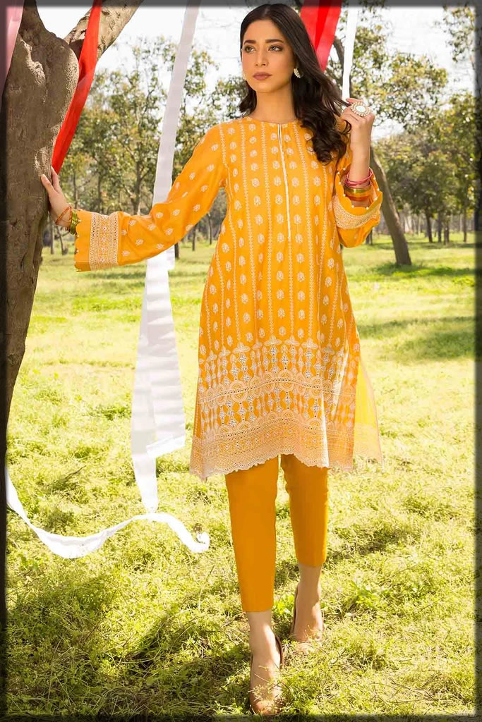 yellow embroidered chikan kari lawn suit