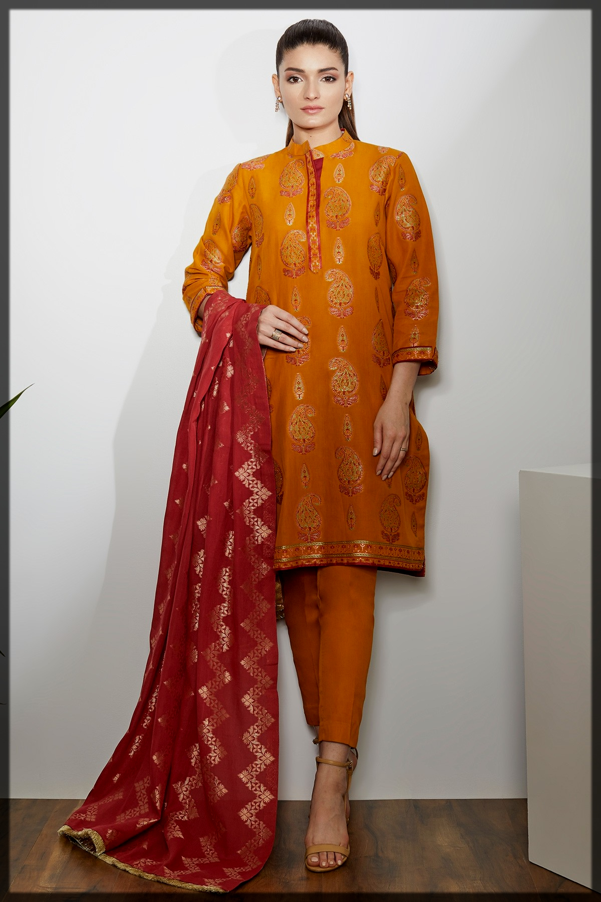 3 Pc Printed Jacquard Suit for women