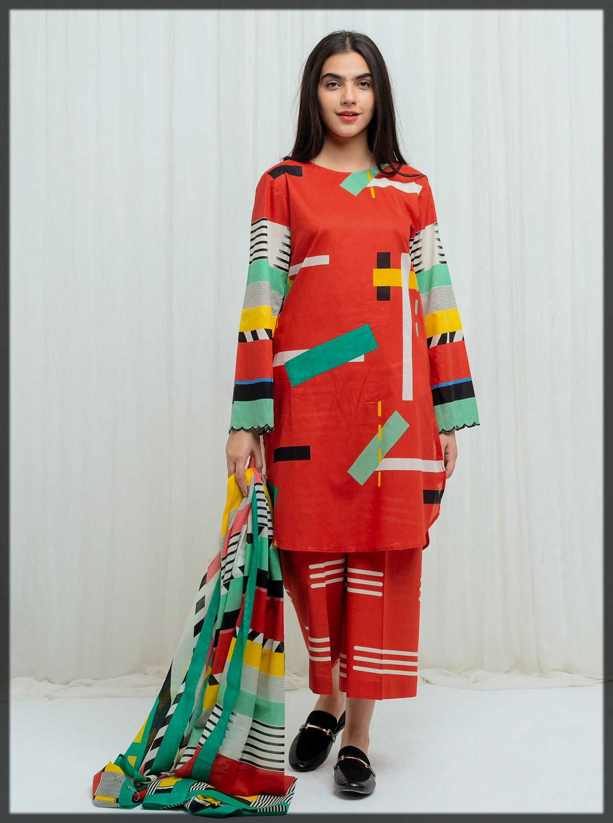 3pc printed lawn suit for teens