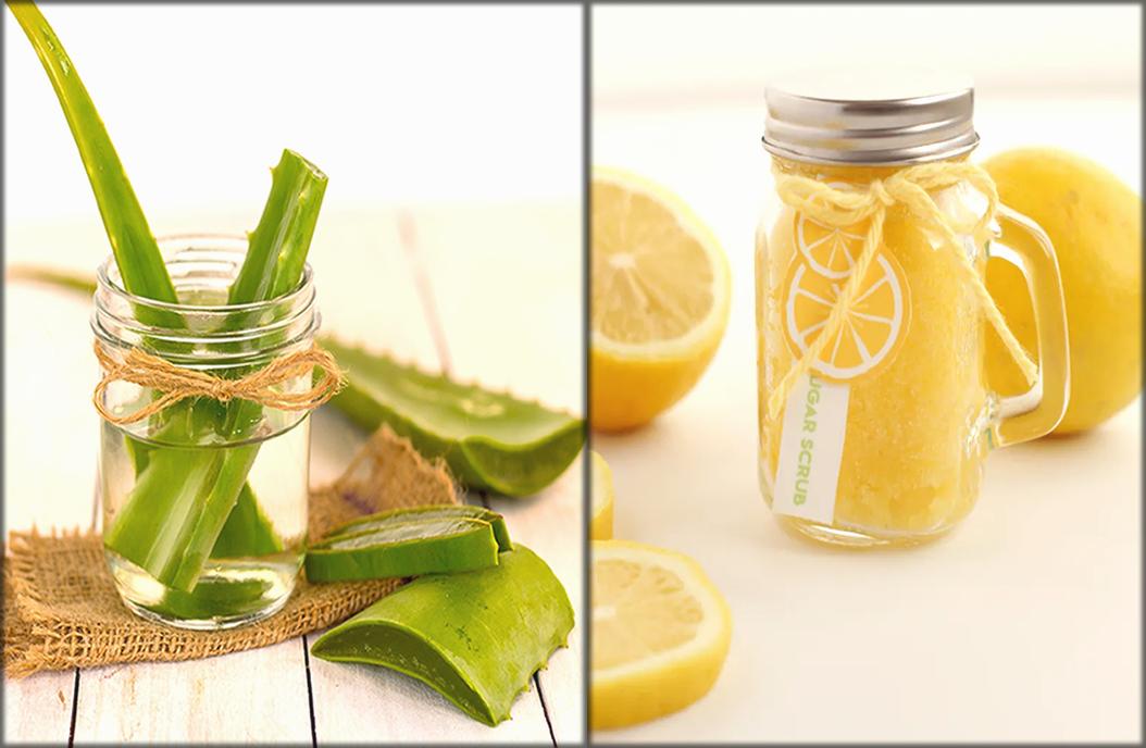 Aloe vera, lemon and brown sugar mask