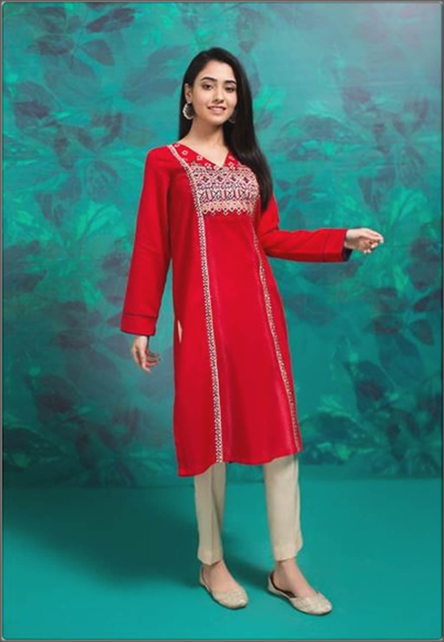 Red Mausummery Spring Summer Lawn Shirt