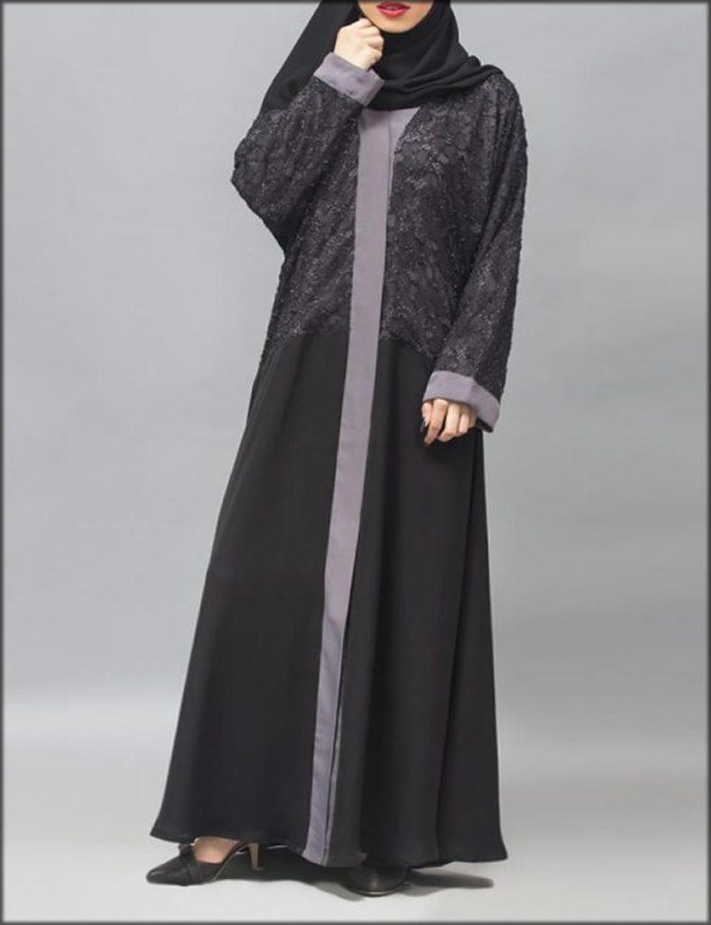 Contrast Net Style Abaya