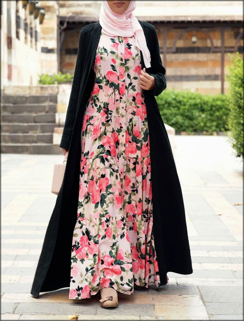Double Layer Printed Abaya