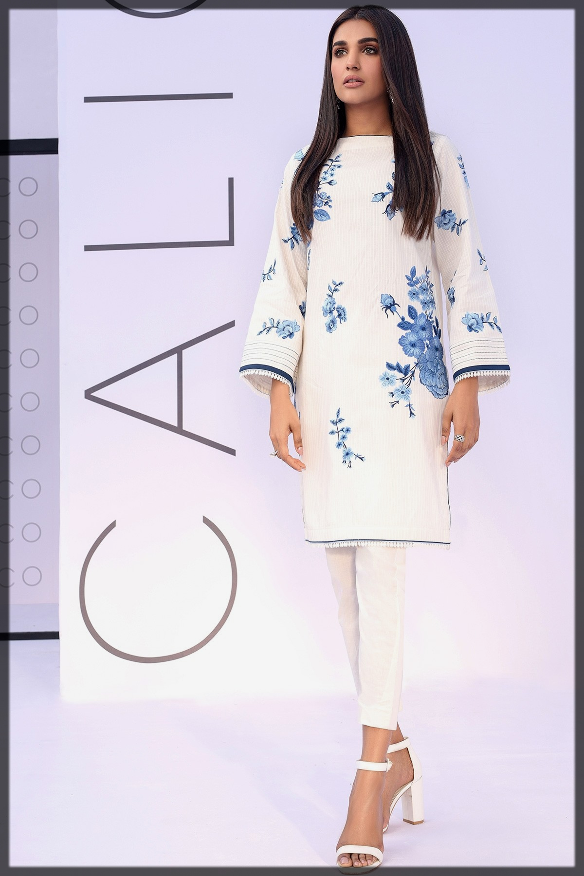 Embroidered Dobby Kurti for eid