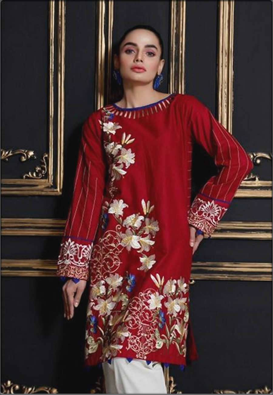 Embroidered Lawn Shirt In Red