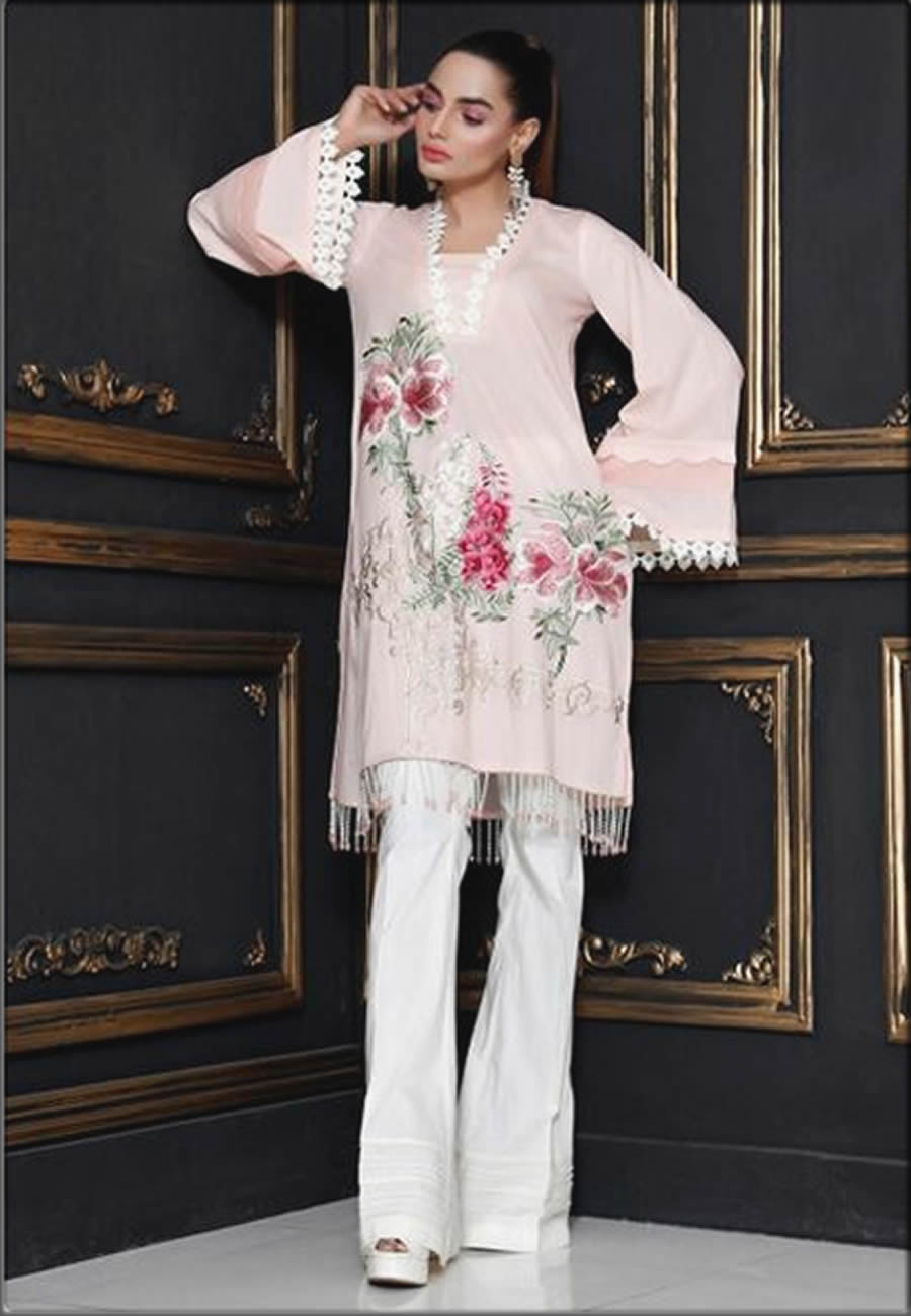 Embroidered Pink Lawn Shirt