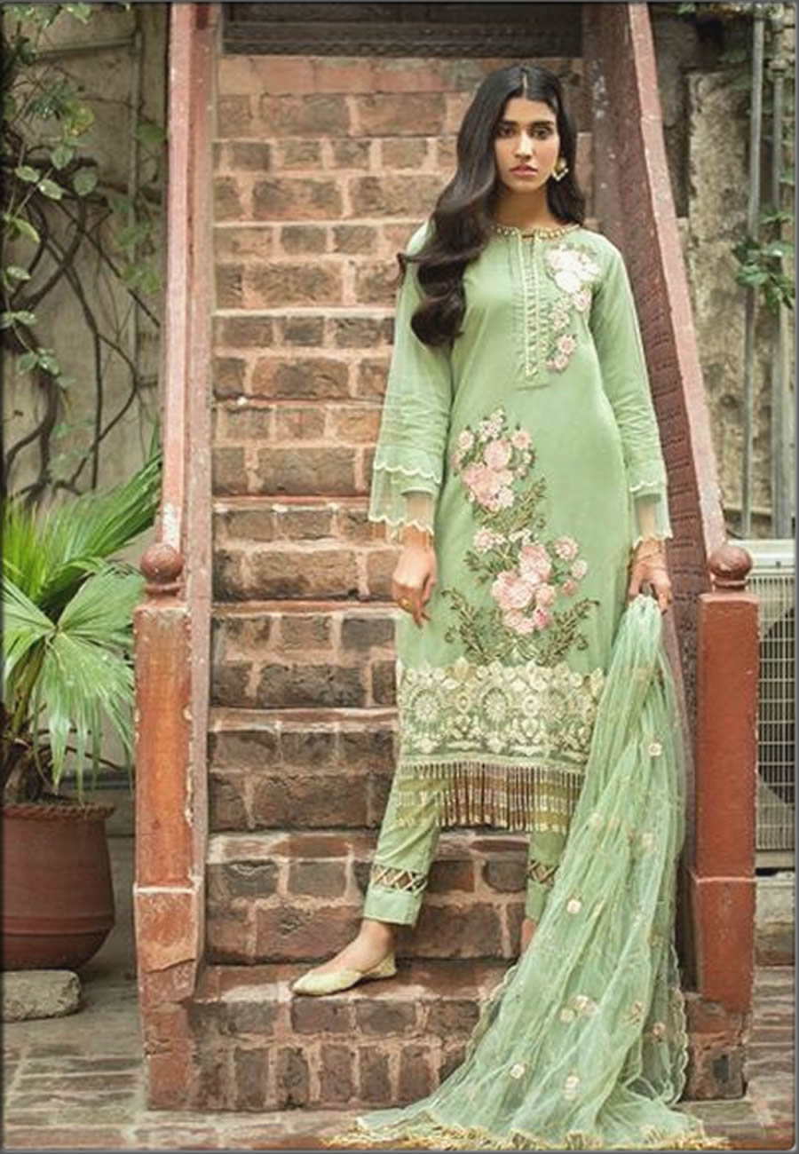 Emerald Three Piece Embroidered Mausummery Spring Summer Lawn Suit