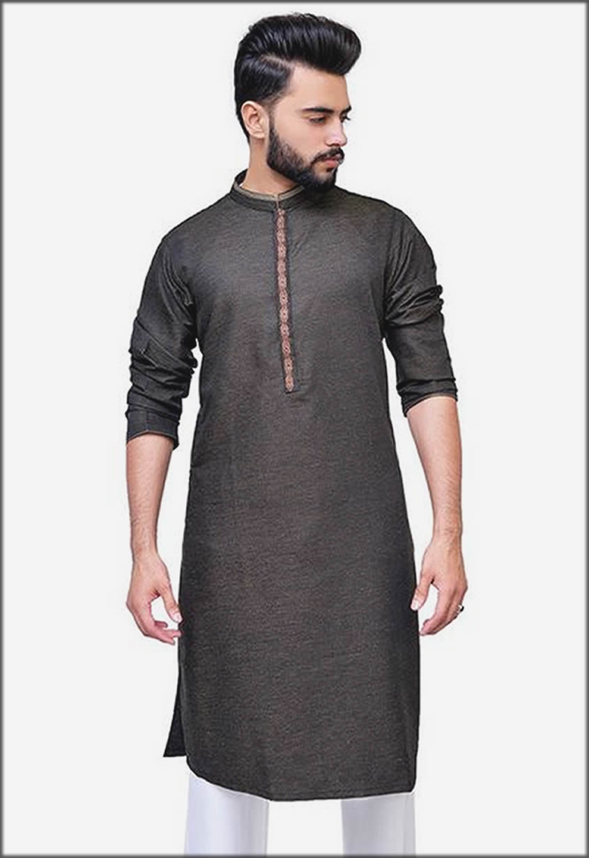 Green Embroidered Kurta For Men