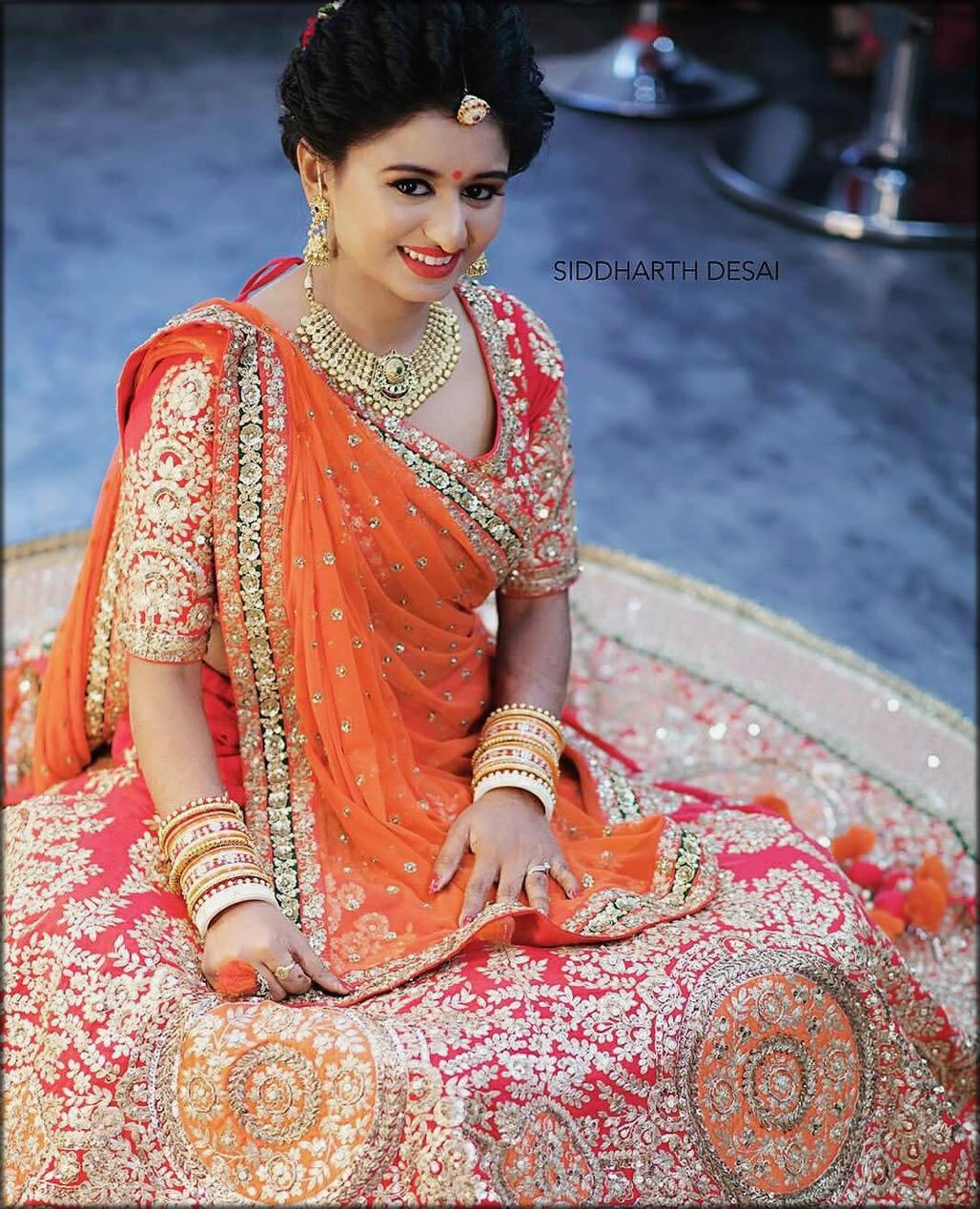 Gujrati Style Drape For Brides