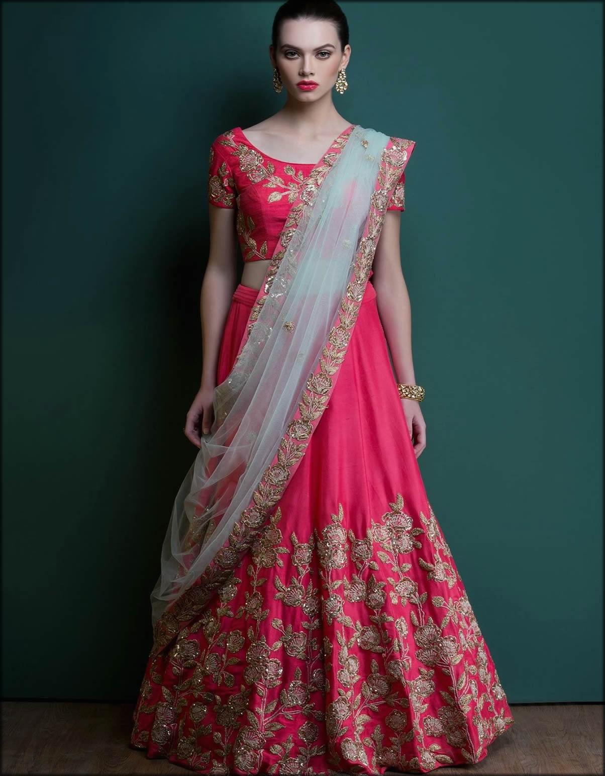 Half Saree Style Dupatta For Bride
