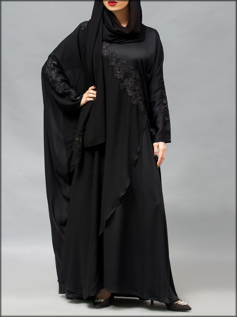 Lace Embroidered Abaya In Black