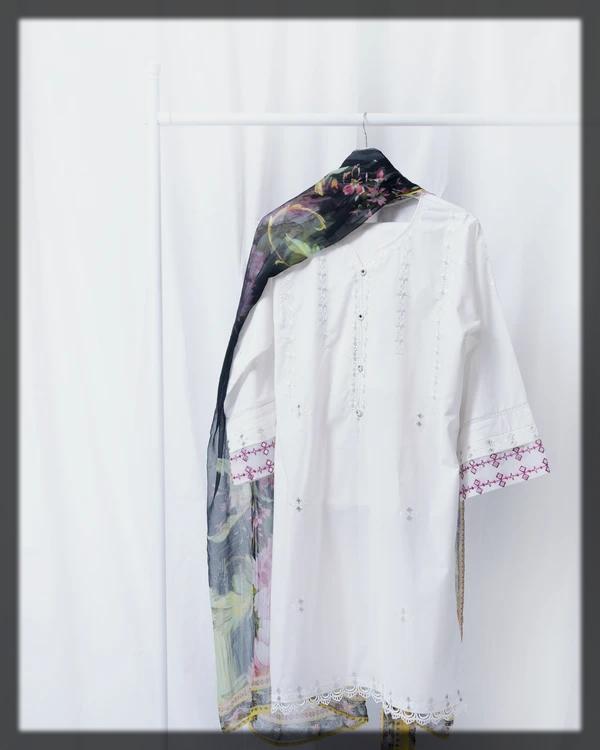 Lawn Shirt, Cotton Trouser & Chiffon Dupatta