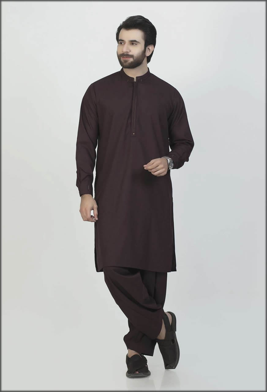 Mehroon Embroidered Kurta