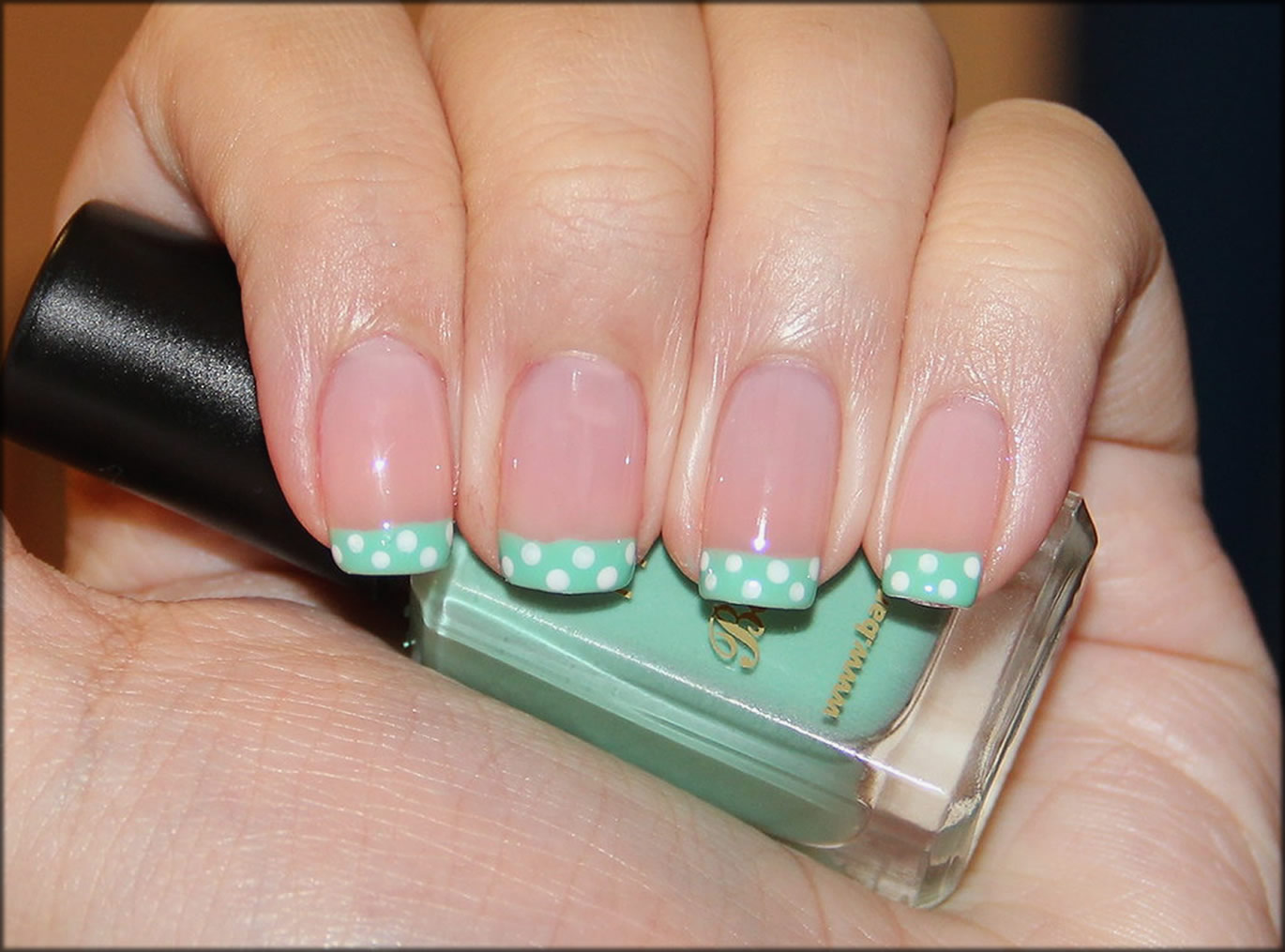 Mint Green Dotted French Art
