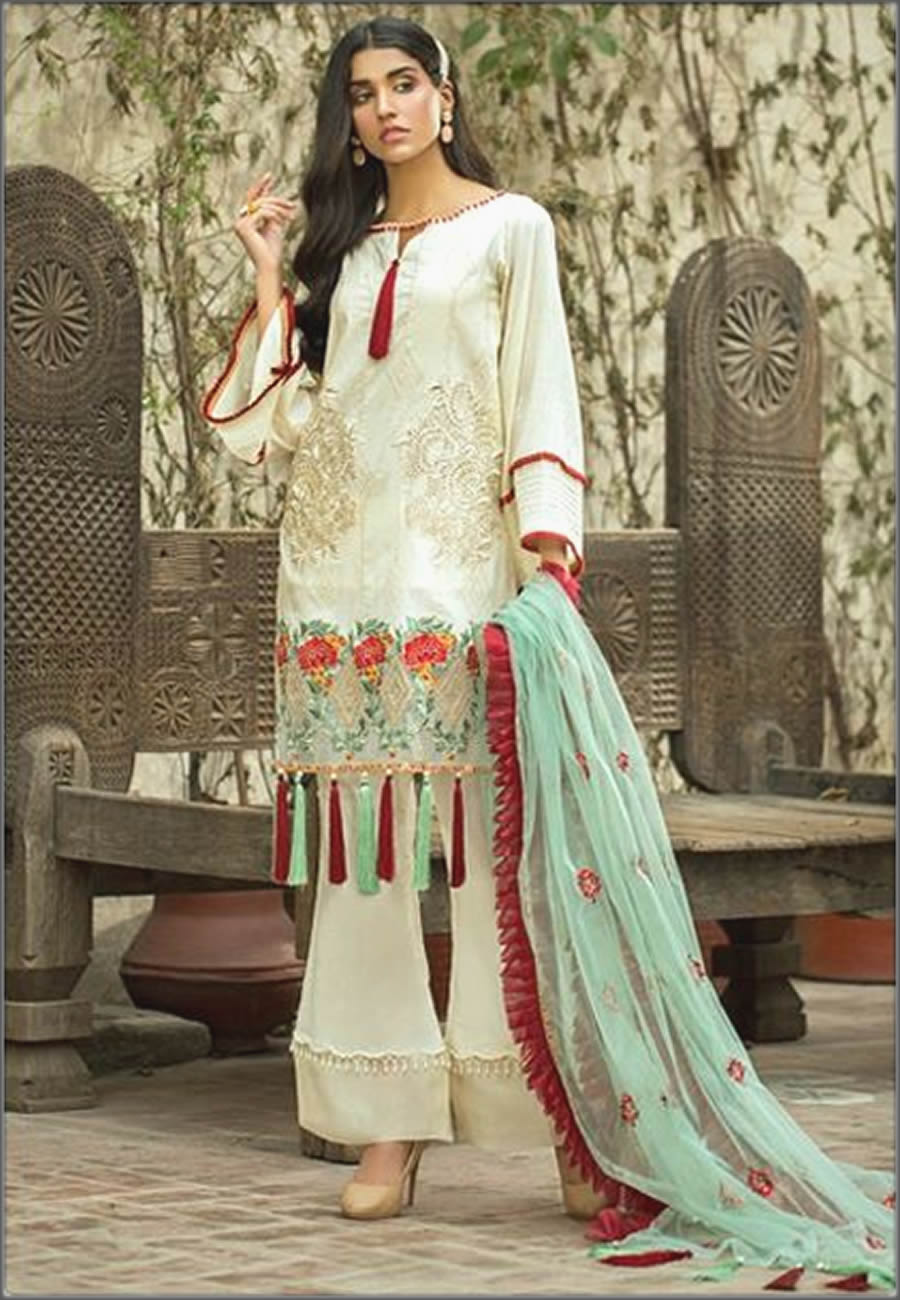 Pearl Three Piece Embroidered Suit