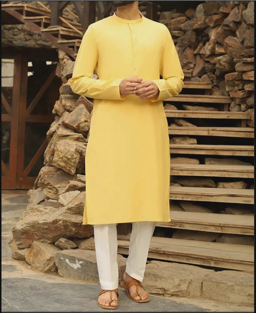 Plain Yellow Kurta For Men