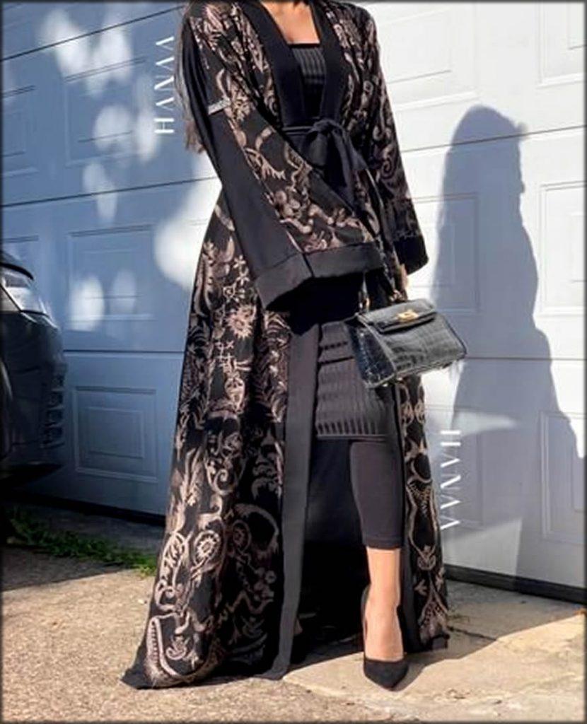 Printed Embellished Gown In Black
