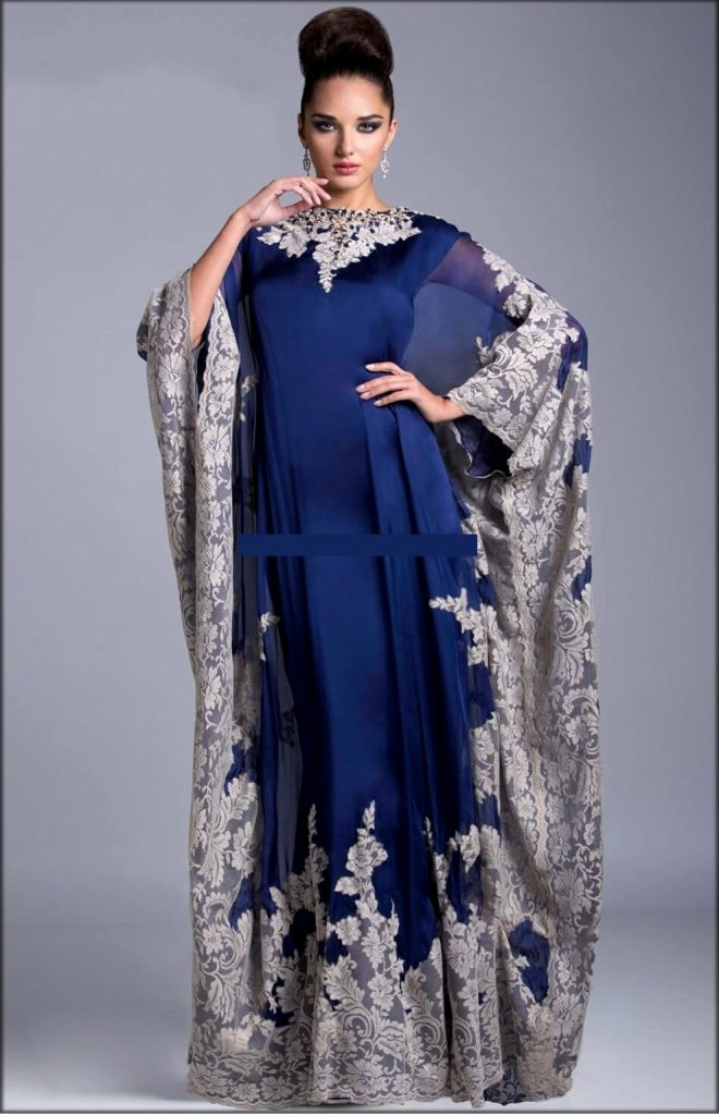 Royal Blue Kaftan Style Embroidered Gown
