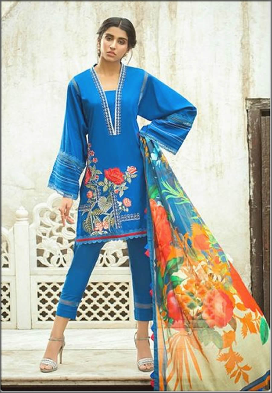 Sapphire Lawn And Cotton Suit