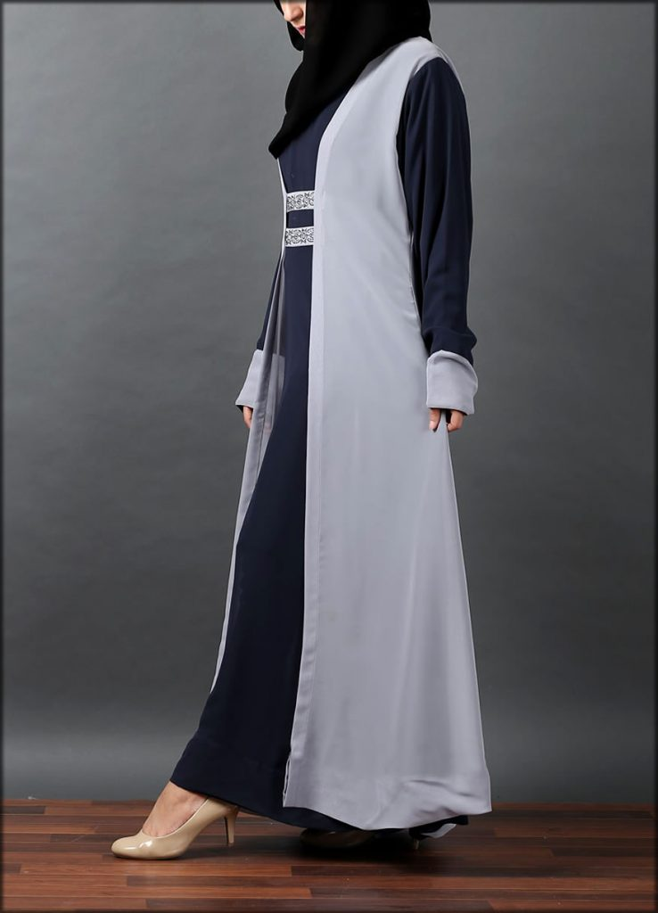 Silver Grey Front Close Gown