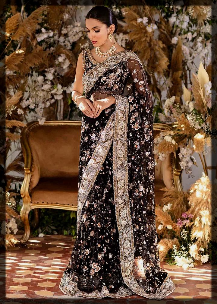 Tena Durrani black Bridal Saree Collection