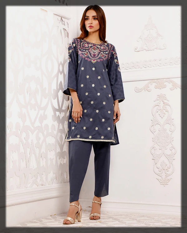 Traditional styled embroidered suit