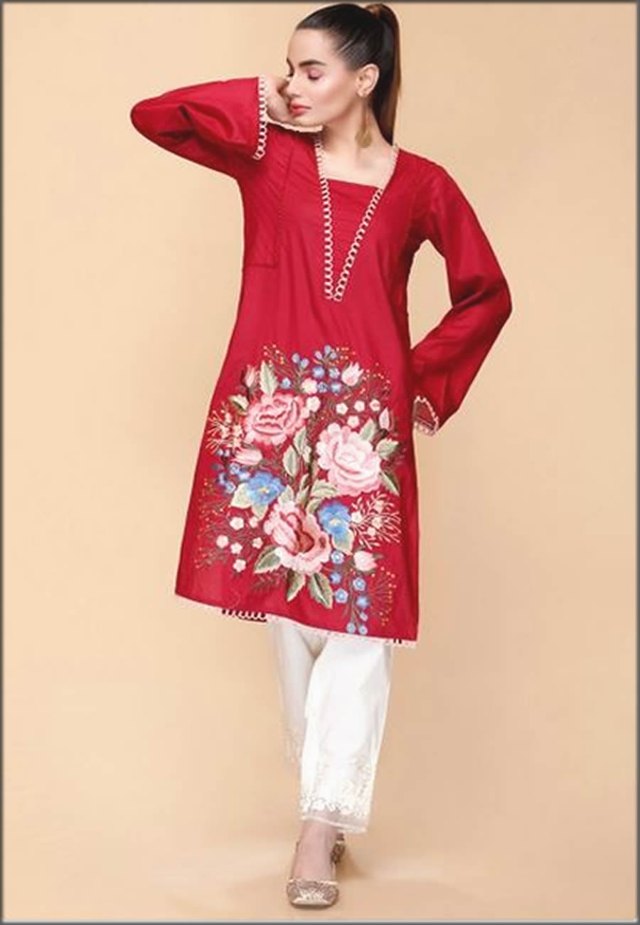 Unstitched Lawn Shirt In Red