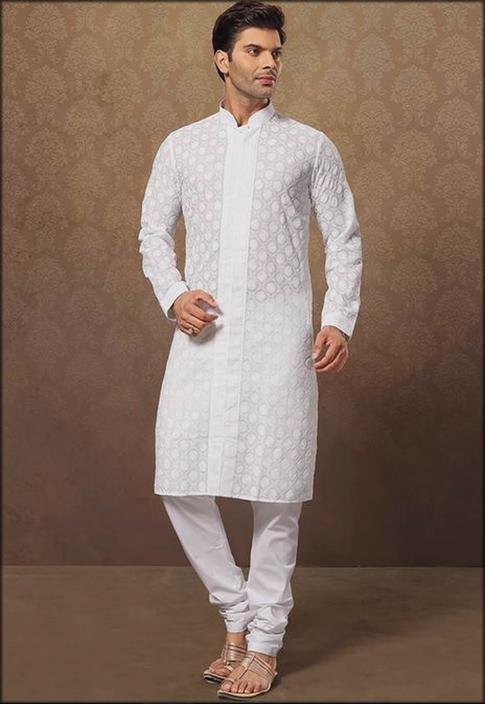 White Elegant Kurtas For Men