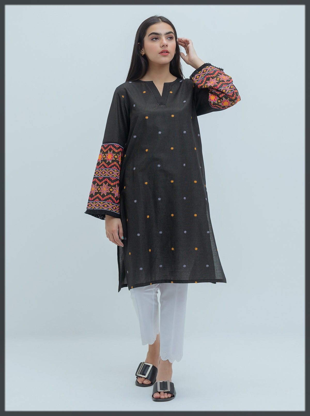 black Embroidered Shirt for ladies