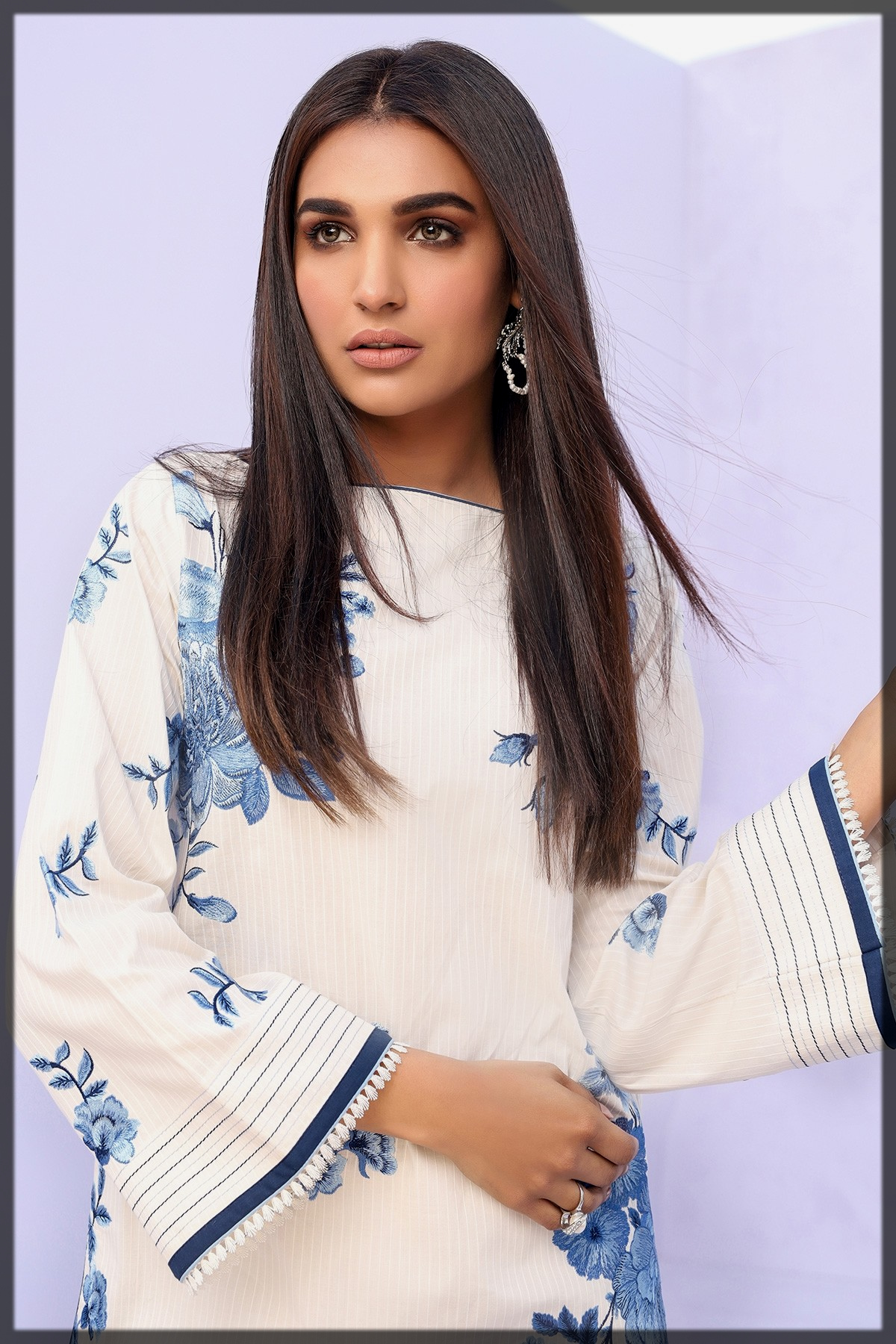 blue and white formal kurti